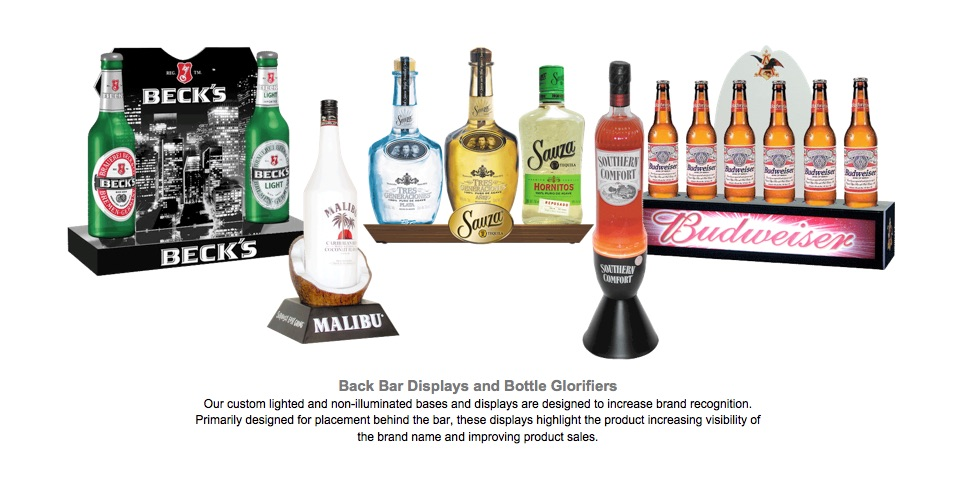 010 POP Back Bar Displays and Bottle Glorifiers