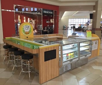 Cake That food service mall kiosk with refrigeration cabinets