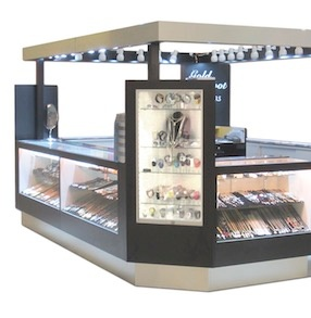 Jewelry and Perfume Illuminated Glass Display Case Mall Kiosk