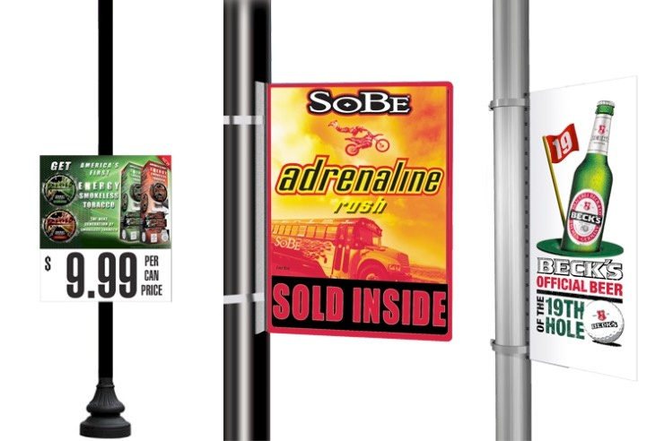 Clamp on Coroplast Outdoor Pole Signs 740x492